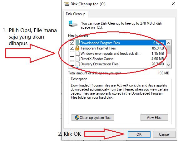Membersihkan File Sampah PC Melalui Disk Cleanup
